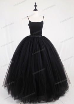 Black Gothic Tulle Long Skirt D1S008