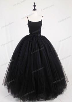 Black Gothic Tulle Long Skirt D1S008