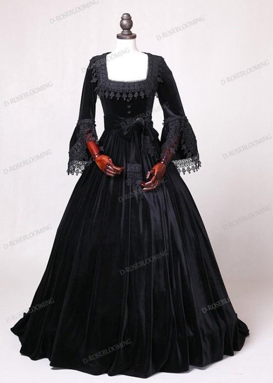 Black Velvet Ball Gown Victorian Gown D3001