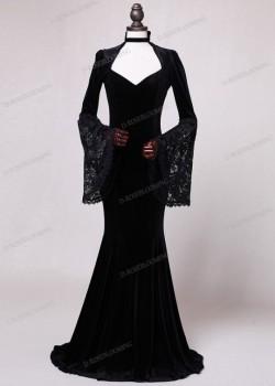 Black Velvet Mermaid Victorian Dress D3004