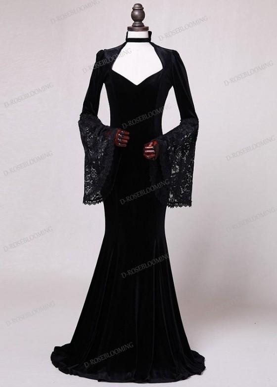 Black Velvet Mermaid Victorian Dress D3004 D Roseblooming