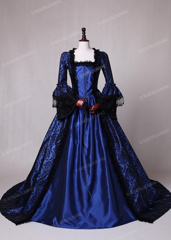 Blue Ball Gown Victorian Costume Dress D3006