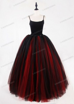 Red Black Gothic Tulle Long Skirt D1S011