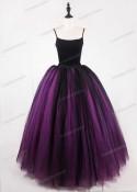 Fuchsia Black Gothic Tulle Long Skirt D1S012
