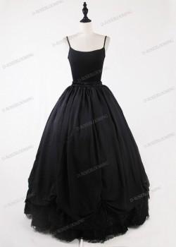 Black Gothic Tulle Long Skirt D1S013