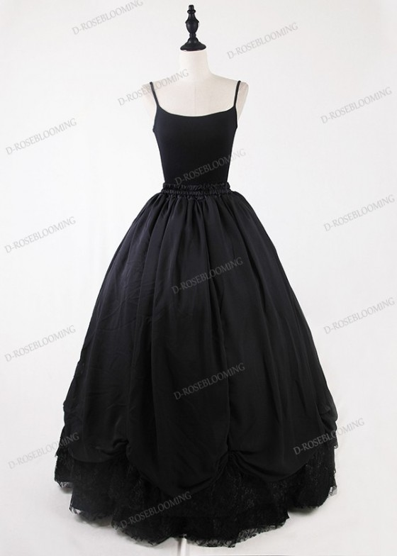Black Gothic Tulle Long Skirt D1S013