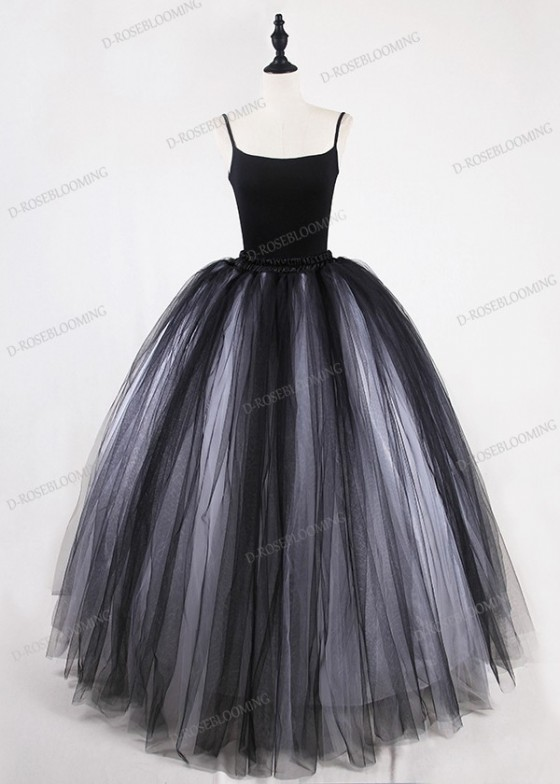 White Black Gothic Tulle Long Skirt D1S014