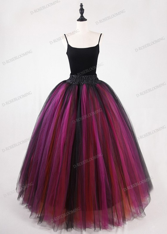 Black Multicolor Gothic Tulle Long Skirt D1S015