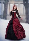 Red Black Gothic Long Prom Dress D1008