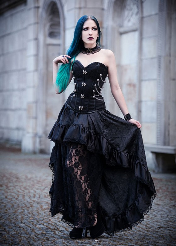 Steampunk Style Black Gothic Long Party Dress D1014