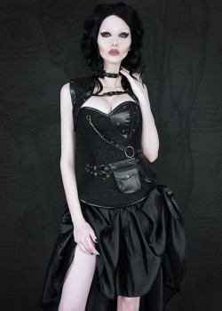 Black Gothic Steampunk High-low Party Dress D1017