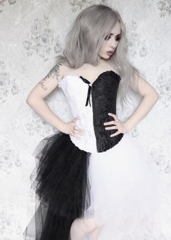 Black White Assorted Gothic High-low Dress D1019