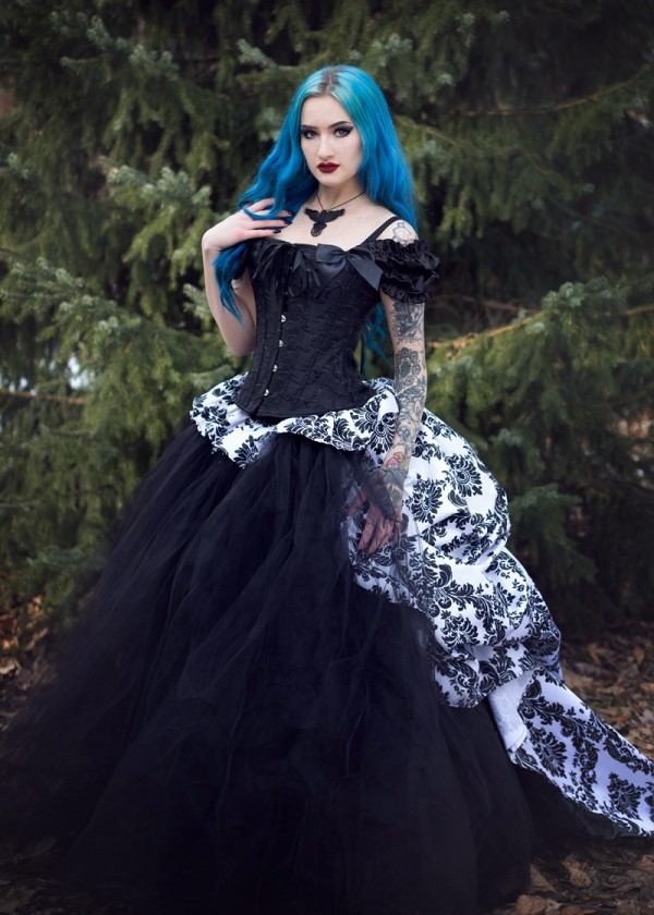 Black Gothic Victorian Long Prom Dress D1020 - D-RoseBlooming