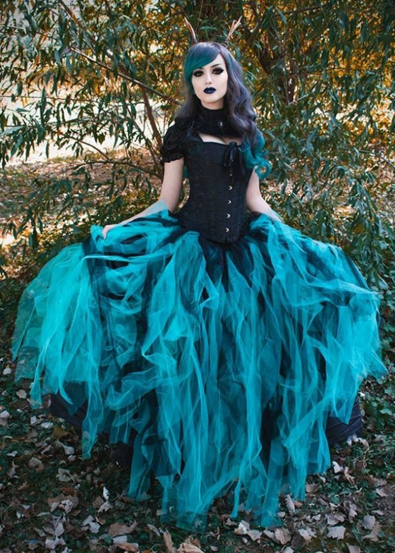 Black Teal Green Gothic Ball Gown Prom Dress D1024