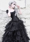 Black Cap Sleeves Gothic Long Prom Dress D1009