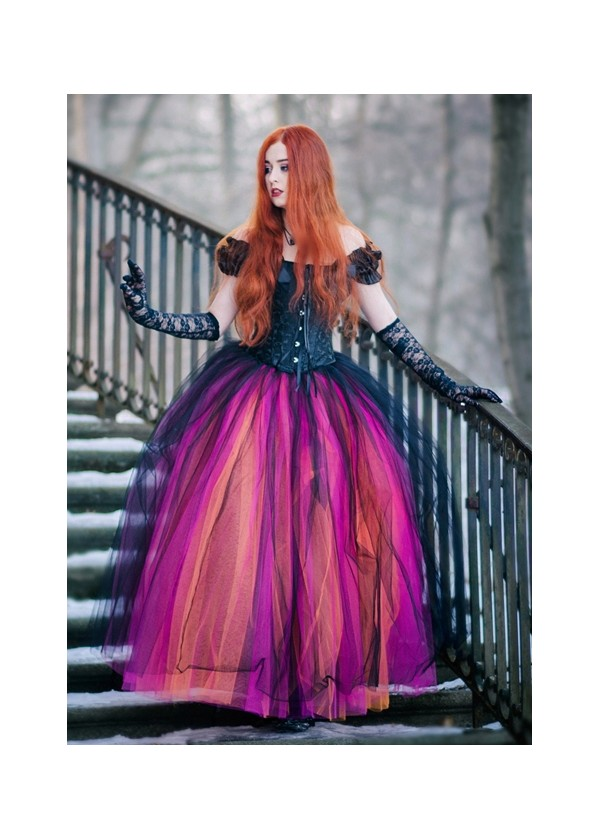 Black Multicolor Gothic Ball Gown Prom Dress D1026 - D-RoseBlooming