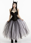 White Black Long Gothic Prom Dress D1034
