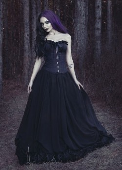 Black Gothic Long Prom Dress D1038