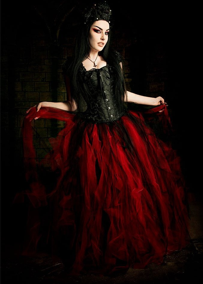 Black Red Long Gothic Prom Dress D1033 D Roseblooming