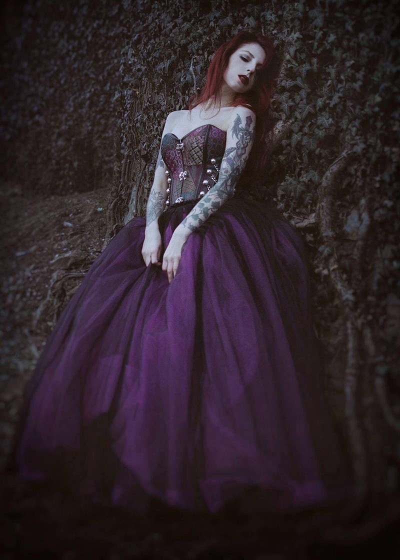 Fuchsia Long Gothic Ball Gown Prom Dress D1030 - D-RoseBlooming