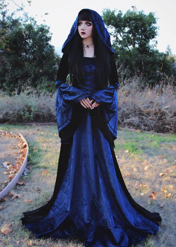 Black Navy Blue Pattern Velvet Medieval Gown D2004 - D-RoseBlooming