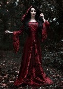 Red Vintage Pattern Hooded Medieval Gown D2008