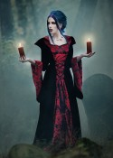Black Red Hooded Medieval Gown D2010