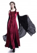 Wine Red Black Off-The-Shoulder Medieval Dress D2015