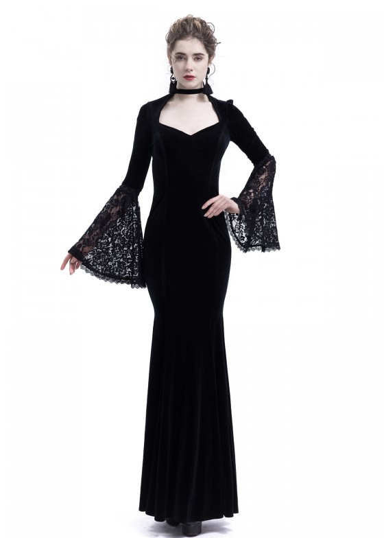 Black Velvet Mermaid Victorian Dress D3004