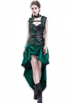 Green Gothic Steampunk Corset Party Dress D1044