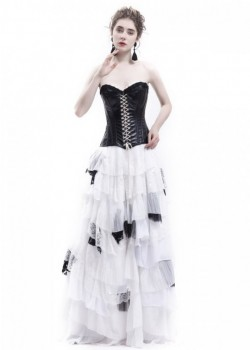 White Black Gothic Punk Prom Wedding Dress D1045