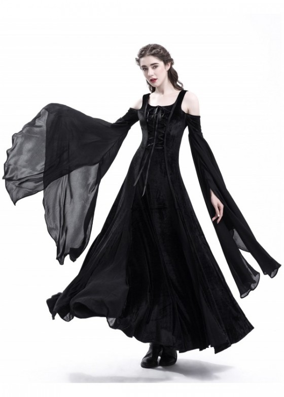 Black Off-The-Shoulder Medieval Dress D2017