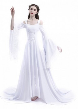 White Off-the-Shoulder Renaissance Medieval Wedding Dress D2021