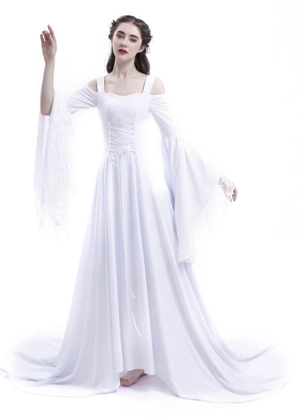 White Off-the-Shoulder Renaissance Medieval Wedding Dress