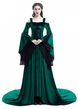 Green Off-the-Shoulder Renaissance Medieval Dress D2024