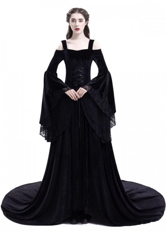 Black Off-the-Shoulder Renaissance Medieval Dress D2025