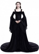 Black Off-the-Shoulder Renaissance Medieval Dress D2025