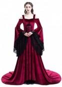 Red Off-the-Shoulder Renaissance Medieval Dress D2026