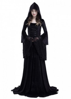 Black Gothic Hooded Vampire Medieval Dress D2022
