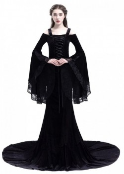 Black Gothic Two Piece Fishtail Medieval Dress D2023