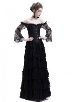 Black Lace Romantic Gothic Corset Long Prom Dress D1043