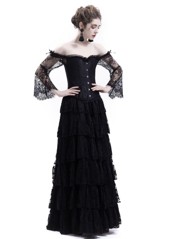 Black Lace Romantic Gothic Corset Long Prom Dress D1043 D Roseblooming