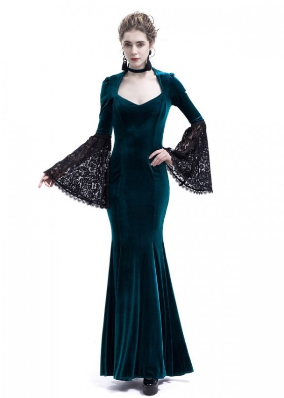 Blue Velvet Dark Morticia Addams Gothic Dress D3024