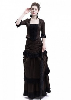 Brown Victorian Bustle Dress D3014