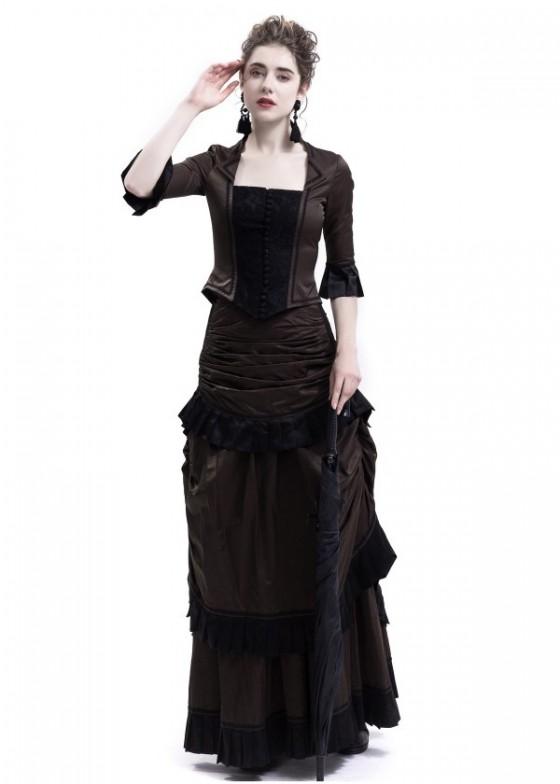 Brown Victorian Bustle Dress D3014