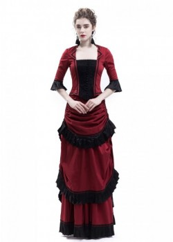 Red Victorian Bustle Dress D3025