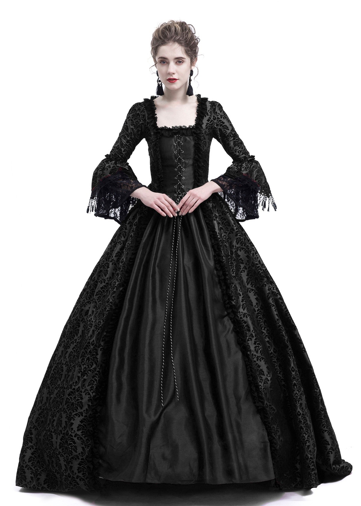 Black Ball Gown Victorian Masquerade Dress D3018 - D-RoseBlooming