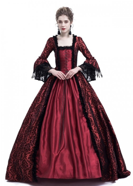 Red Ball Gown Victorian Masquerade Dress D3019