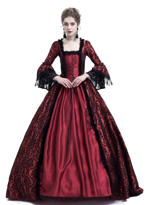 Red Ball Gown Victorian Masquerade Dress D3019 D