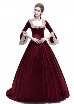 Red Velvet Ball Gown Victorian Gown D3008